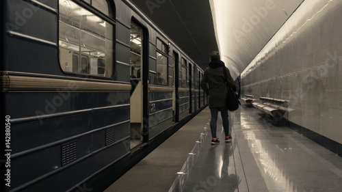 The train arriving to the subway station
