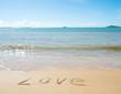 The word LOVE written on sand.
