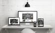 canvas print picture - Creative deks scene for web design agency promotion. Modern, clean responsive web site promotion on different devices. Designer studio desk front view.