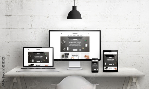 Cuadros en Lienzo Creative deks scene for web design agency promotion