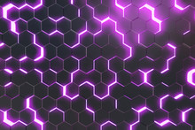 Abstract Purple Background Of Futuristic Surface With Hexagons. 3d Rendering
