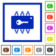 Hardware security flat framed icons