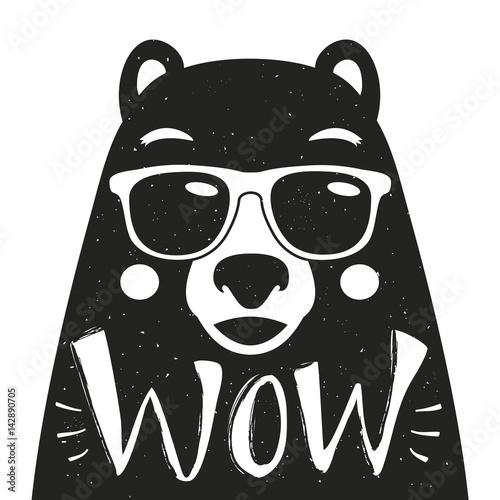 Wektorowa ilustracja z eleganckim modnisia niedźwiedziem w okularach przeciwsłonecznych.