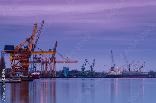 Foto op Canvas Rotterdam PORT AT DAWN - Seaport on Swinoujscie