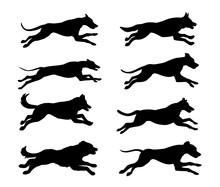 Jumping Running Dogs Silhouett...