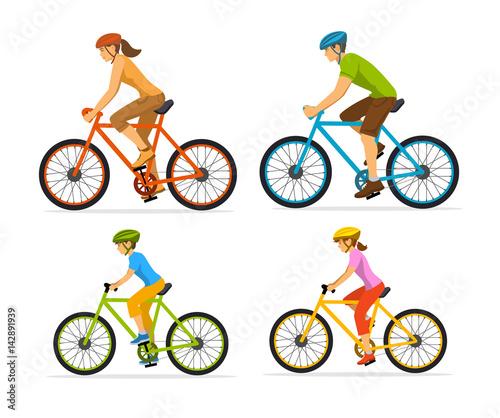 Fotografie, Obraz  Man , woman, boy and girl riding sport bikes