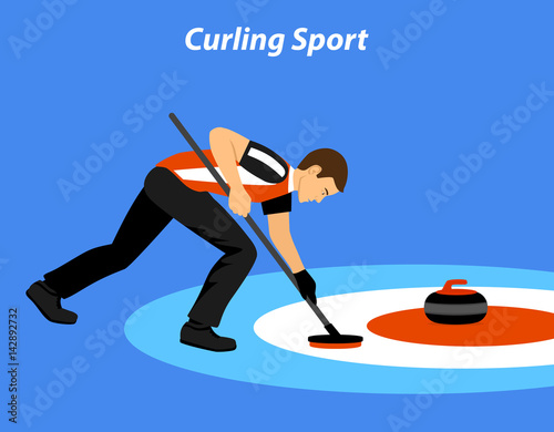 Fotomural Curling Sport Player Vector Illustration