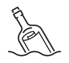 Message In A Bottle Line Style Icon