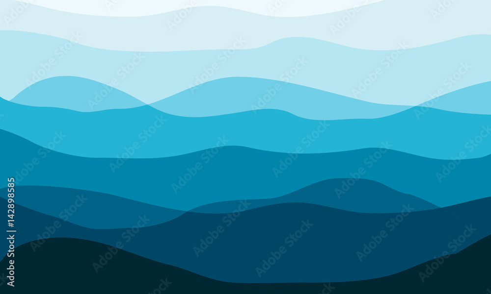 Fototapety, obrazy: Layered mountains landscape in the morning. Waves vector background.
