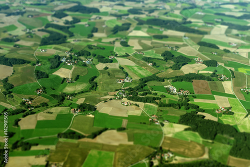 Foto op Plexiglas Groene Aerial view of farmlands in Germany.