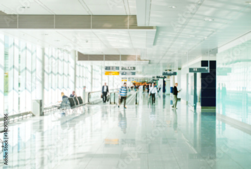 Foto op Aluminium Luchthaven Passenger terminal inside the airport. Blurred image. Suitable for background.