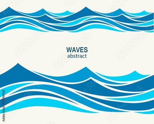 Türaufkleber Künstlich Marine seamless pattern with stylized blue waves on a light back