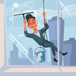 Happy smiling washer employee man character wash the window. Vector flat cartoon illustration