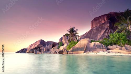 Foto-Leinwand - Sonnenuntergang im tropischen Paradies