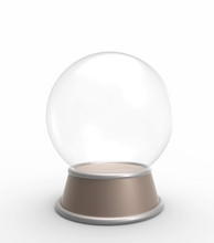 Empty Crystal Ball Isolated On White Background.