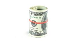 Roll Of Hundred USA Dollar Bil...