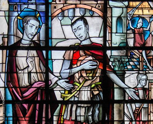 Fotografia Stained Glass - Jesus and Pontius Pilate