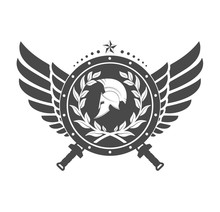 Military Symbol A Spartan Helmet On A Board With Among Wings.