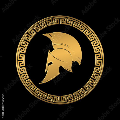 Photo  Symbol a Spartan helmet, an ornament in the Greek style gold color