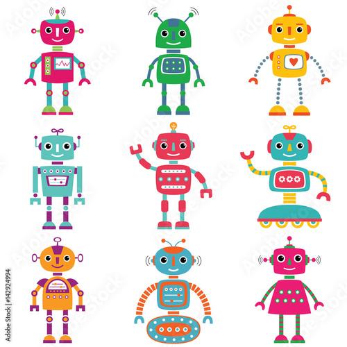 Deurstickers Robots Robots, set of nine cute characters