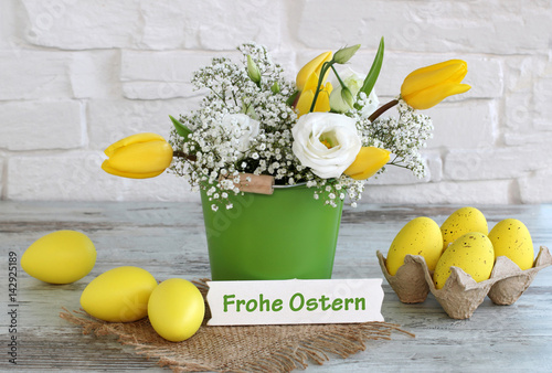 Foto op Canvas Madeliefjes Frohe Ostern