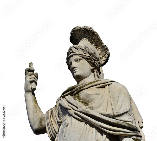 Minerva as Dea Roma neoclassical statue (isolated on white background) Canvas Print