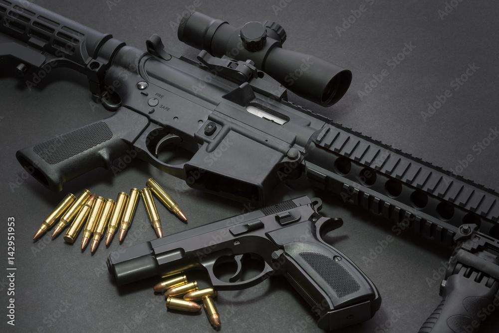 Fototapeta Handgun with rifle