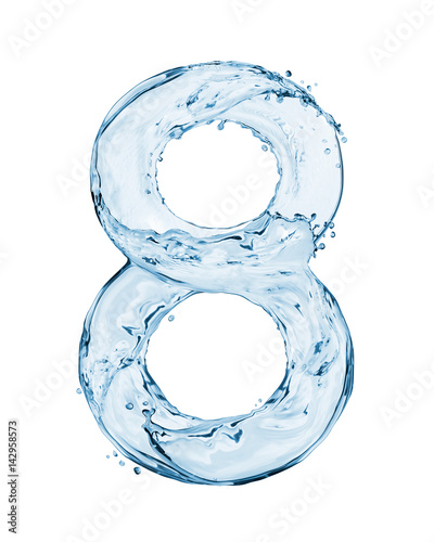 Number 8 made with a splashes of water isolated on white background Wall mural