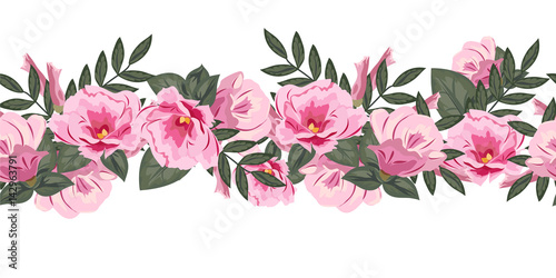 Seamless floral border with cute pink flowers hand drawn pattern on seamless floral border with cute pink flowers hand drawn pattern on white background mightylinksfo