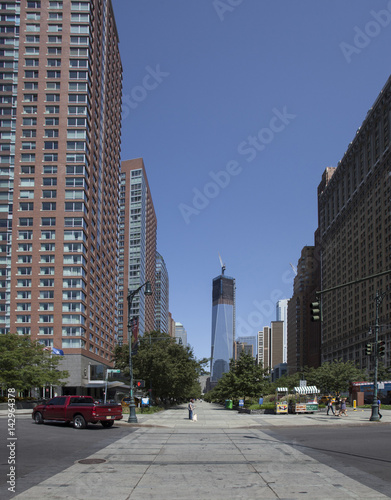 Photo  View of downtown Manhattan skyscrapers including the ongoing construction on the new World Trade Center Building in New York City