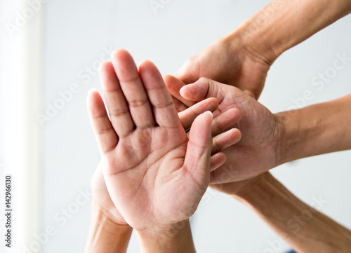Fototapety, obrazy: People with their hands together. team work concept