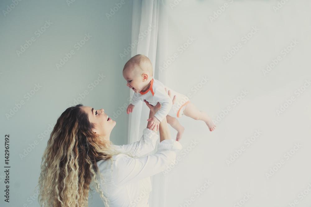 Photo  happy family at home