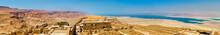 Ruins Of Masada Fortress And Dead Sea