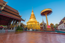 Hariphunchai Massive Gold Stupa Of Lamphun Province, The Tourist Attraction Of Northern Thailand. This Temple Is Very Old And Large With A Museum With Artefacts From The 12 Th And 13th Century