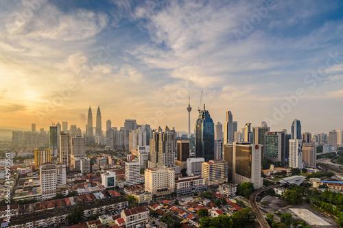 Foto op Canvas Kuala Lumpur Kuala Lumpur city skyline when sunrise, Malaysia