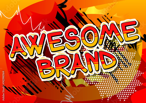 Printed kitchen splashbacks Awesome Brand - Comic book style word on abstract background.