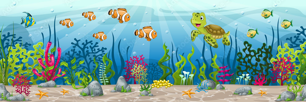 Fototapeta Illustration of an underwater landscape with animals and plants