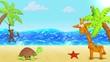 Ocean, Beach Sand. Plasticine Giraffe, Monkey, Turtle, Starfish. Background for summer design. Clay animation. 4K