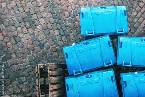 Fotobehang Koraalriffen Plastic garbage dumspter containers from above