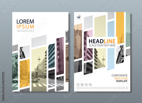 Stampa su Tela Annual report brochure flyer design template vector, Leaflet cover presentation, book cover, layout in A4 size
