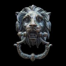 Metal Lion Head DoorKnocker Isolated Black