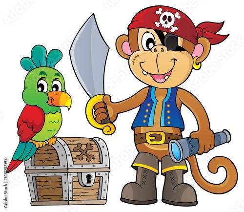 Foto op Canvas Piraten Pirate monkey topic 1