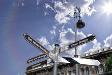 A Signpost In Looking In Different Directions. The Clouds Are In The Sky. It Is A Sunny Spring Day.