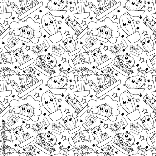 Pattern of cute cartoon hand-draw cactus in different pots - Buy