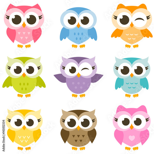 Aluminium Prints Owls cartoon set of cute colorful owls isolated on white background
