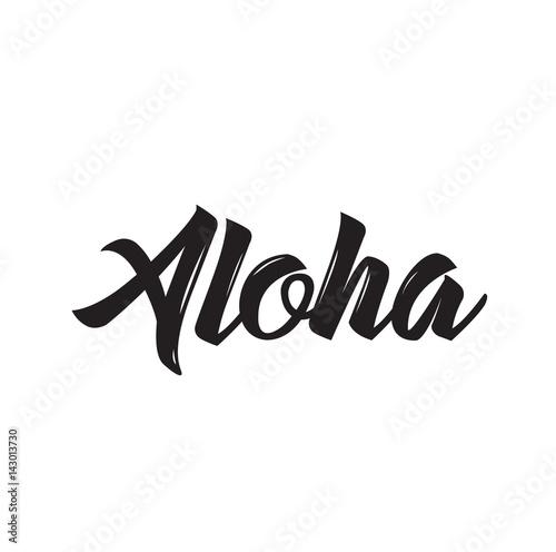 Photo aloha, text design. Vector calligraphy. Typography poster.