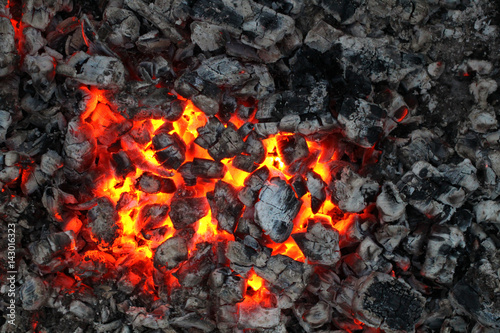 Charred wood and bright flames on dark background Wallpaper Mural
