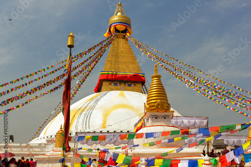 Keuken foto achterwand Nepal Boudhanath temple ( stupa ) after renovation, the temple was damaged by earthquake in 2015 in Kathmandu,Nepal