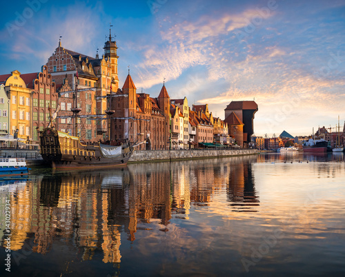 Deurstickers Schip Cityscape of Gdansk in Poland