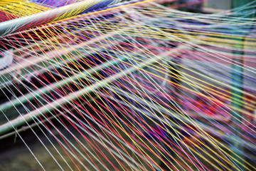 Loom weaving colors threads : Closeup